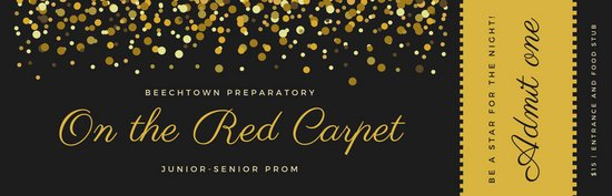 Prom Ticket Template Free Gold and Black Red Carpet Prom Ticket Templates by Canva