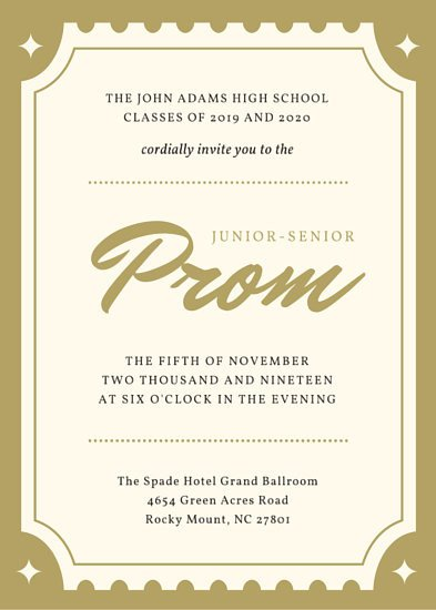 Prom Ticket Template Free Golden Ticket Hollywood Prom Invitation Portrait