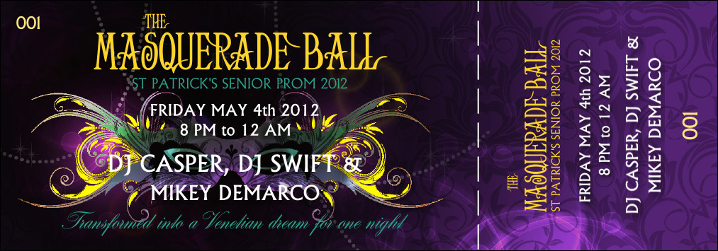 Prom Ticket Template Free Masquerade Ball event Ticket