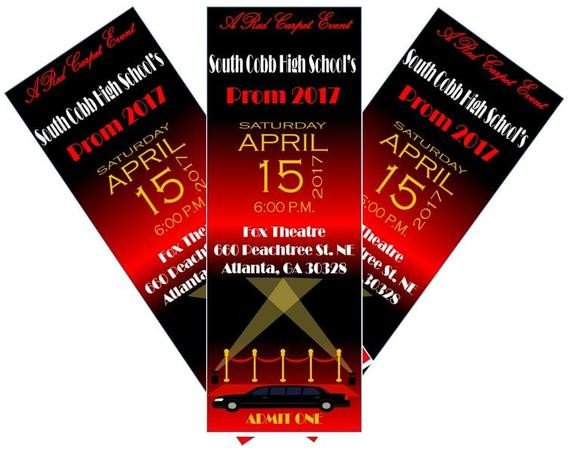 Prom Ticket Template Free Red Carpet Hollywood Prom Ticket Birthday Ticket Invitation