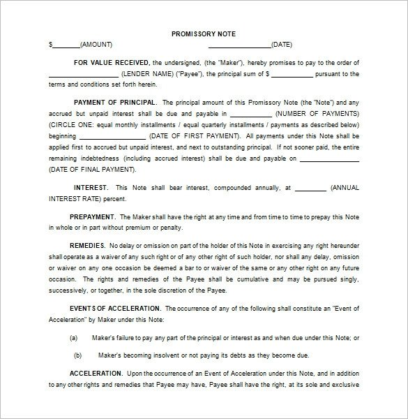 Promissory Note Template Florida 35 Promissory Note Templates Doc Pdf
