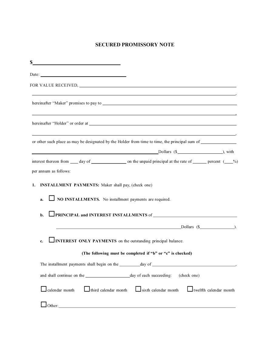 Promissory Note Template Florida 45 Free Promissory Note Templates & forms [word & Pdf]