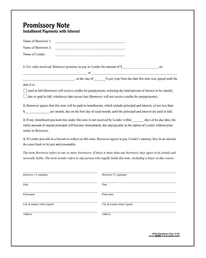 Promissory Note Template Florida Adams Promissory Note forms and Instructions