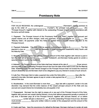 Promissory Note Template Florida Promissory Note Template and Sample