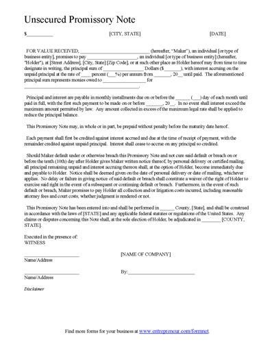 Promissory Note Template Florida Promissory Note Template form Can Be Customized and