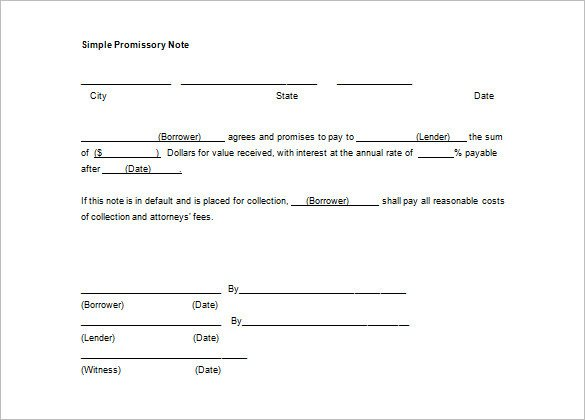 Promissory Note Template Microsoft Word 35 Promissory Note Templates Doc Pdf