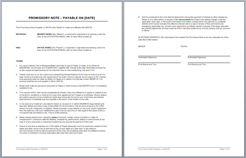 Promissory Note Template Microsoft Word Promissory Note Template – Microsoft Word Templates
