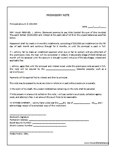 Promissory Note Template Microsoft Word Promissory Note Template