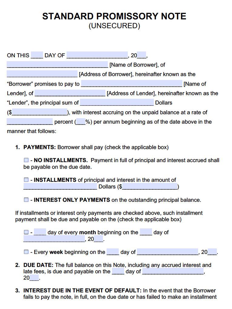 Promissory Note Template Microsoft Word Unsecured Promissory Note Template Promissory Notes