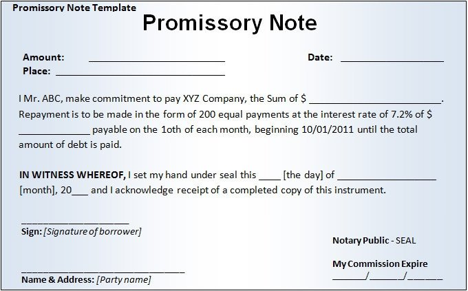 Promissory Note Template Word 20 Promissory Note Templates Google Docs Ms Word