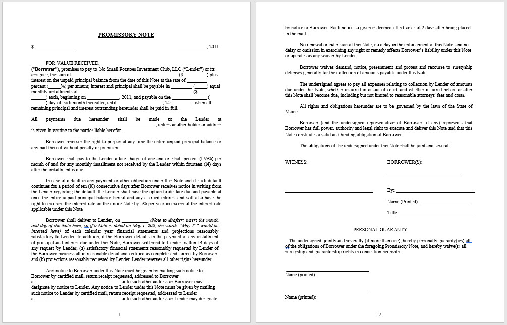 Promissory Note Template Word 43 Free Promissory Note Samples & Templates Ms Word and