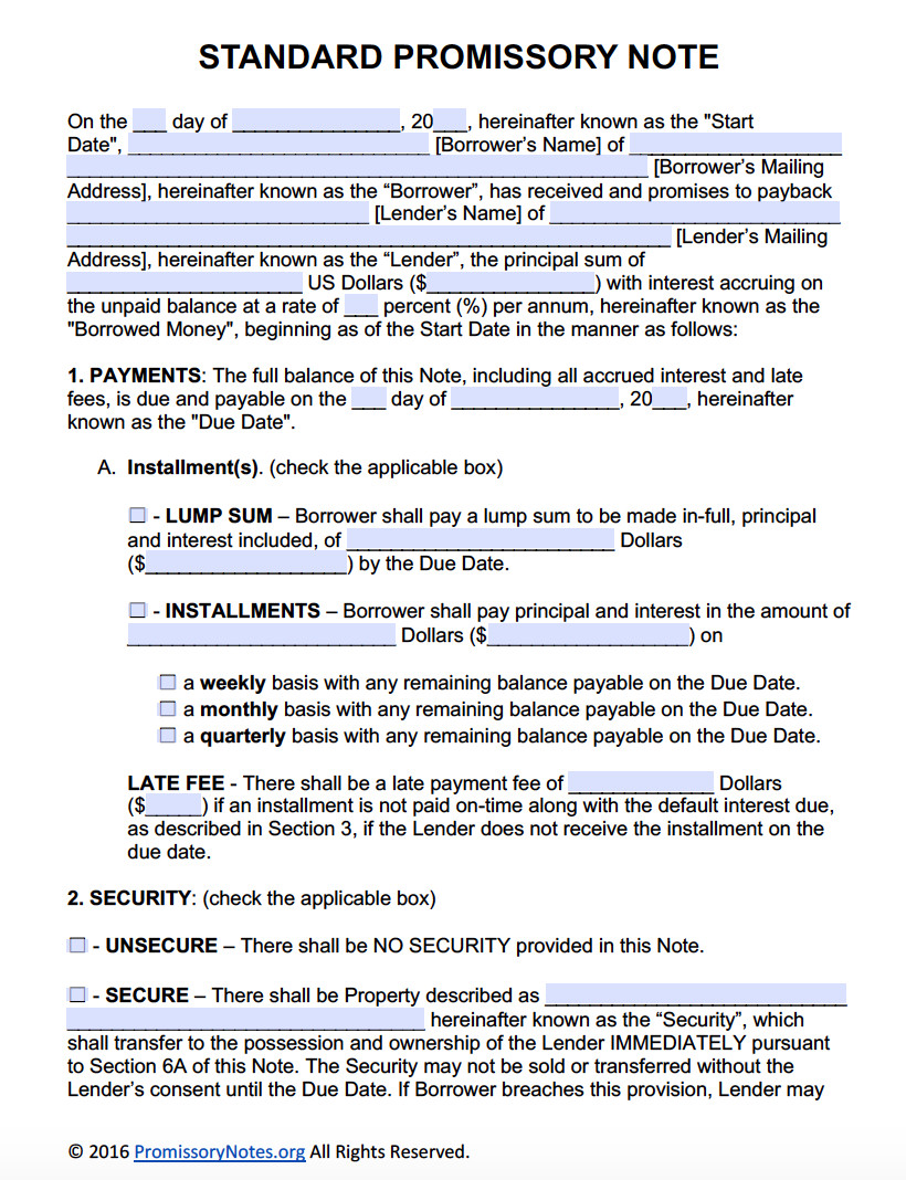 Promissory Note Template Word Free Promissory Note Template Adobe Pdf & Microsoft Word