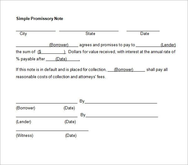 Promissory Note Template Word Promissory Note 26 Download Free Documents In Pdf Word