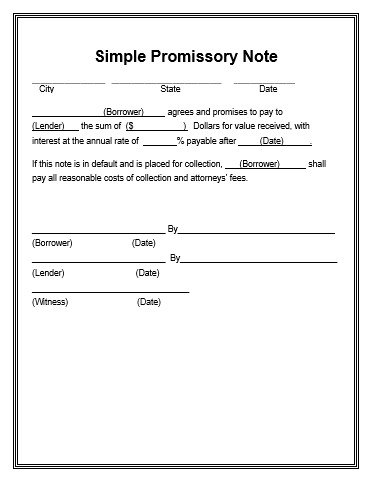 Promissory Note Template Word Promissory Note Template