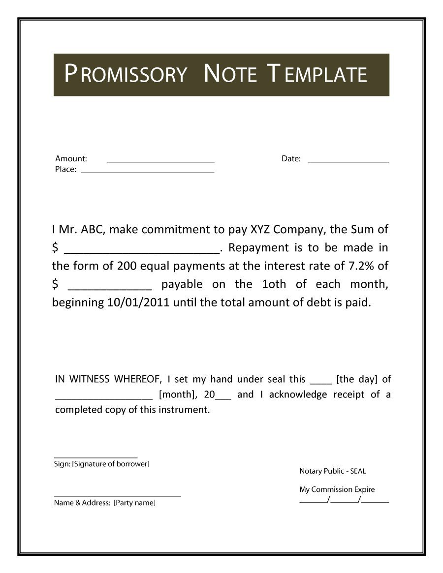 Promissory Note Word Template 45 Free Promissory Note Templates & forms [word & Pdf]
