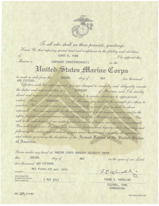Promotion Warrant Template Usmc Meritorious Promotion Warrant