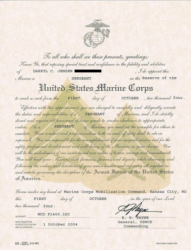Promotion Warrant Template Usmc Promotion Promotion Usmc
