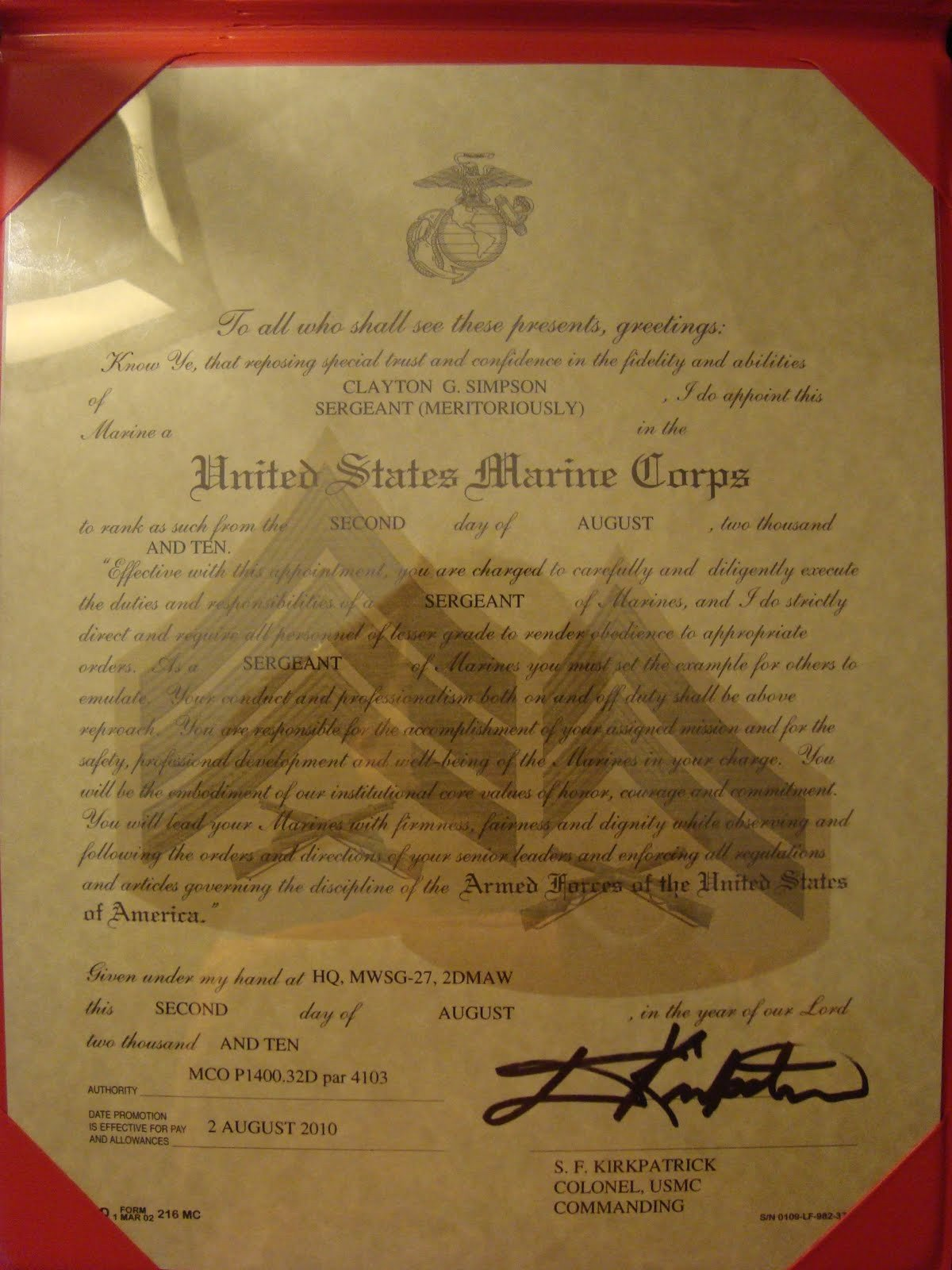Promotion Warrant Template Usmc Promotion Promotion Warrant