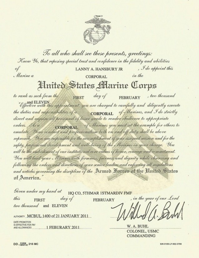 Promotion Warrant Template Usmc Promotion Warrant Cpl