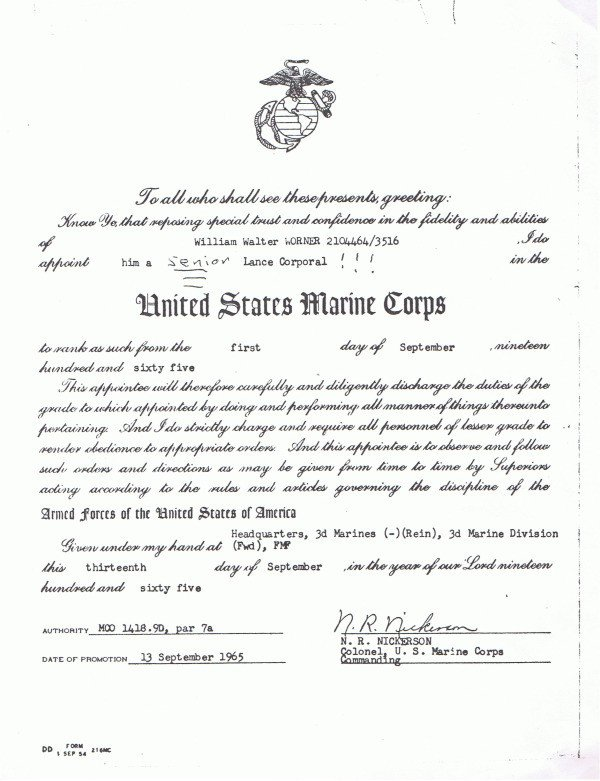 Promotion Warrant Template Usmc to Herweserved Lcpl William Worner