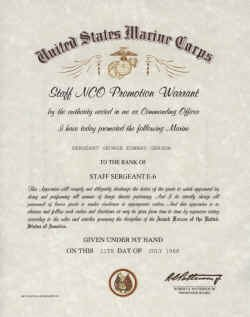 Promotion Warrant Template Usmc United States Marine Corps Snco Promotion Warrant