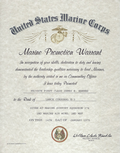 Promotion Warrant Template Usmc Usmc E 2 E 3 Enlisted Promotion Warrant