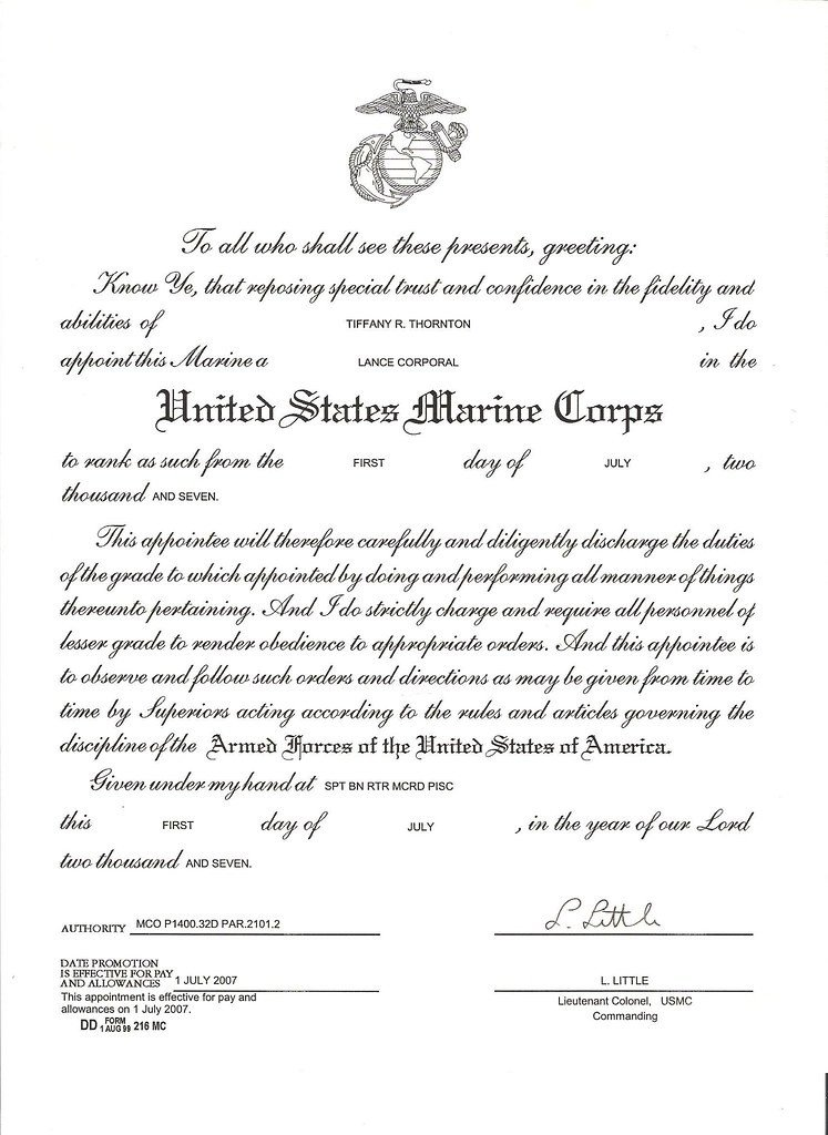 Promotion Warrant Template Usmc Usmc Lcpl Promotion Warrant for Thornton Tiffany R 001