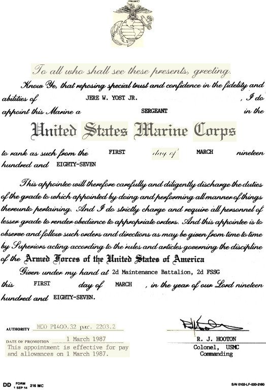 Promotion Warrant Template Usmc Usmc