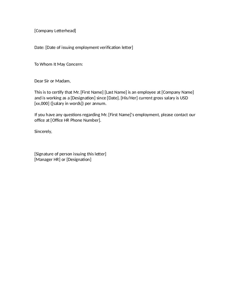 Proof Of Employment Letter Template 2019 Proof Of Employment Letter Fillable Printable Pdf