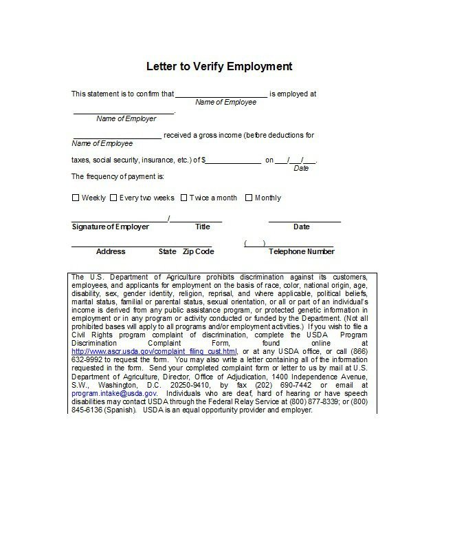 Proof Of Employment Letter Template 40 Proof Of Employment Letters Verification forms & Samples