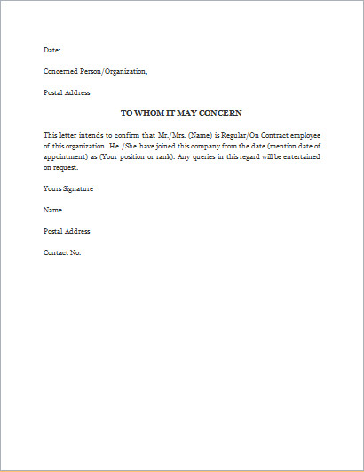 Proof Of Employment Letter Template Proof Of Employment Letter Template