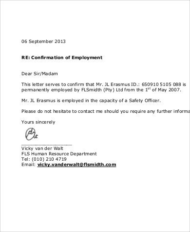 Proof Of Employment Letter Template Sample Proof Of Employment 5 Examples In Word Pdf