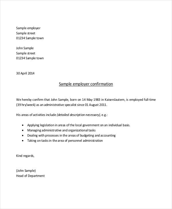 Proof Of Employment Letter Template Sample Proof Of Employment Letter 10 Sample Documents