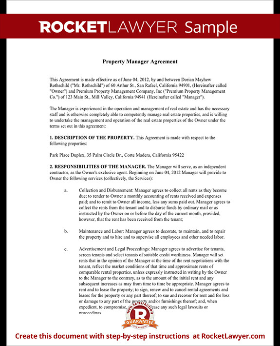 Property Management Websites Templates Property Management Agreement form Free Template with