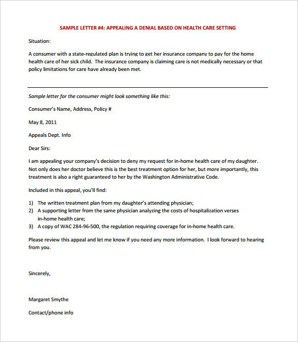 Provider Appeal Letters Sample 17 Appeal Letter Templates Free Sample Example format