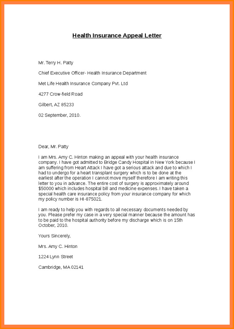 Provider Appeal Letters Sample 6 Insurance Appeal Letter