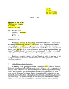Provider Appeal Letters Sample Letter Sample Insurance Claim Denial and order Example