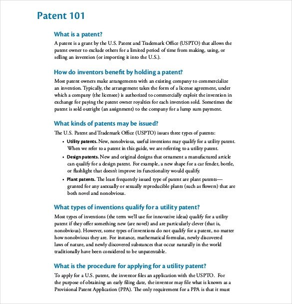 Provisional Patent Application Template 12 Patent Application Templates Free Sample Example