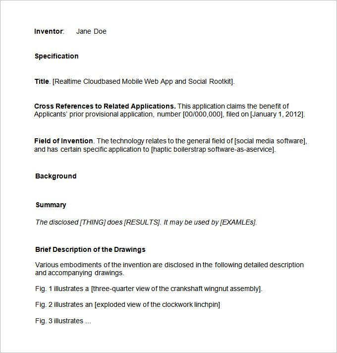 Provisional Patent Application Template Patent Application Template – 12 Free Word Pdf Documents
