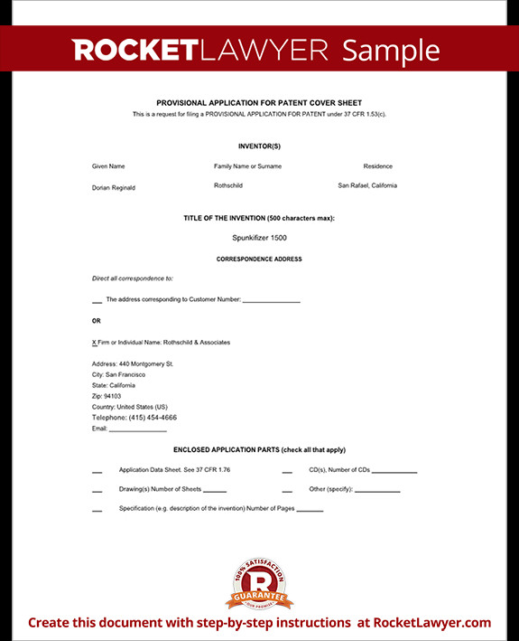 Provisional Patent Application Template Provisional Patent Application form Free Template with