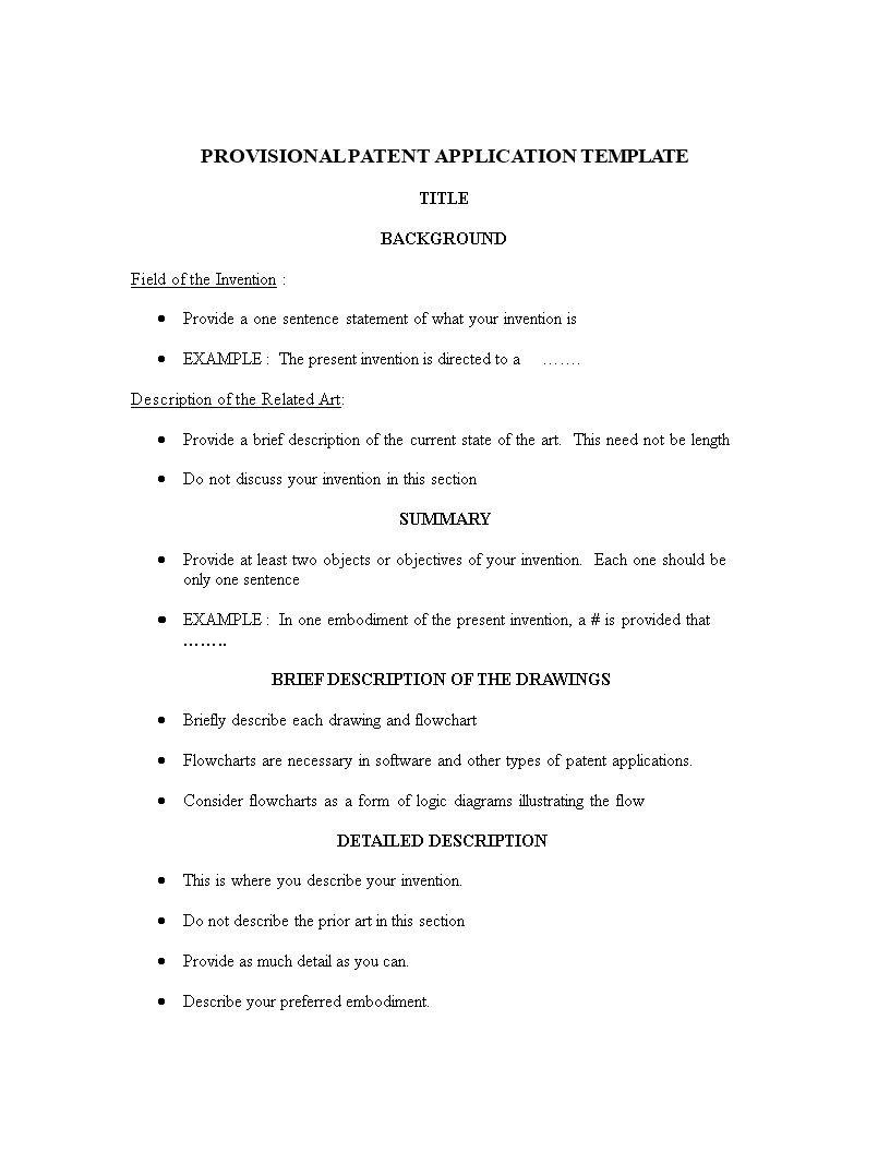 Provisional Patent Application Template Provisional Patent Application Template