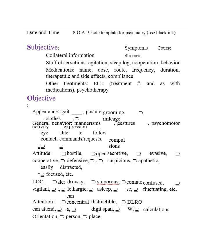 Psychiatric soap Note Template 40 Fantastic soap Note Examples & Templates Template Lab
