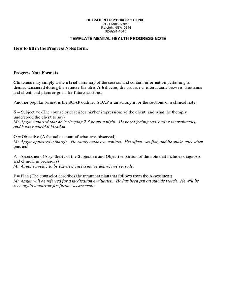 Psychiatric soap Note Template Sample Mental Health Progress Note Anxiety