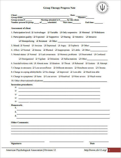 Psychotherapy Progress Note Template Psychotherapy Progress Note Template Pdf