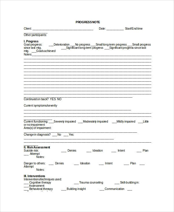 Psychotherapy Progress Note Template Sample therapy Note Template 5 Free Documents Download