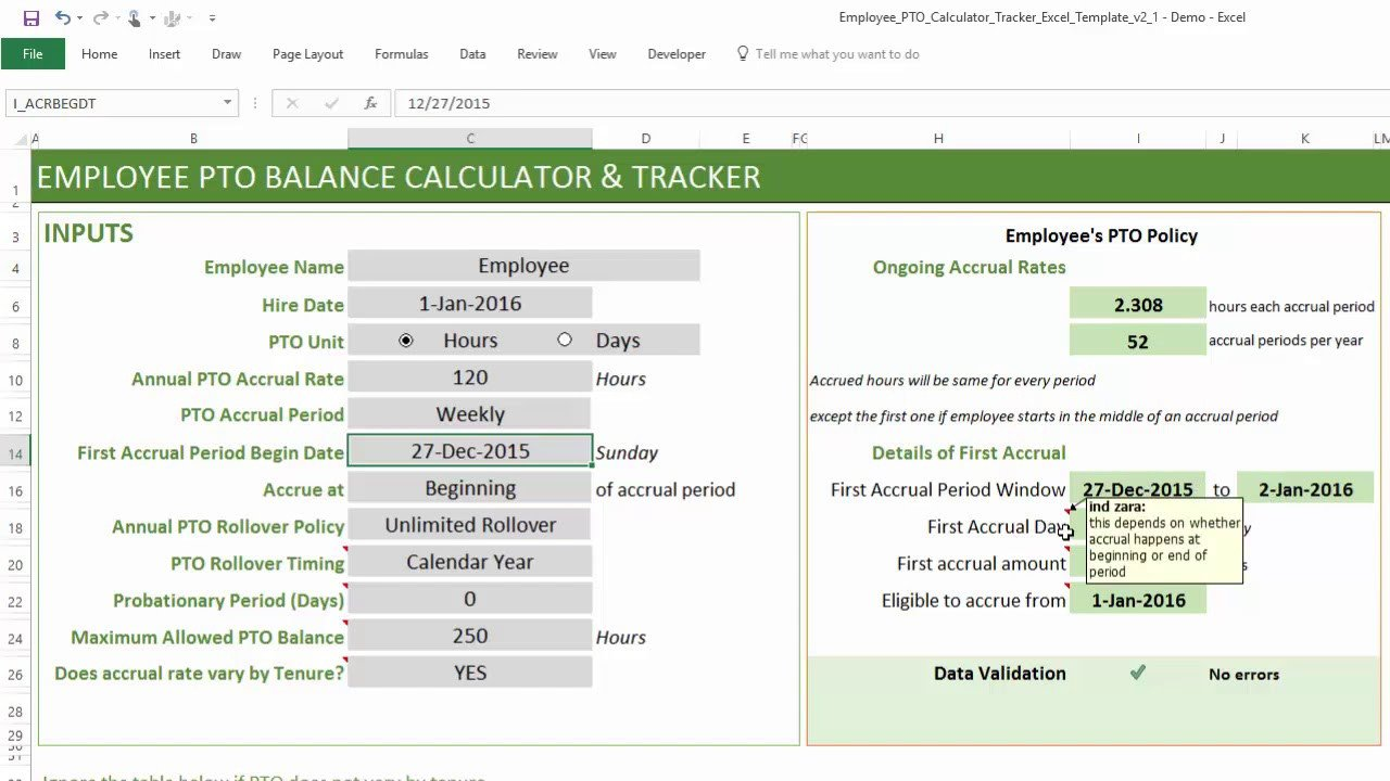 Pto Calculator Excel Template Pto Calculator Excel Template Employee Pto Tracker