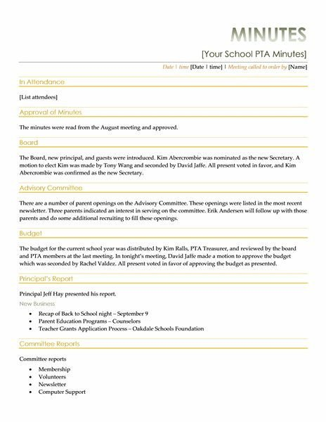 Pto Meeting Minutes Template 10 Best Meeting Minutes Images On Pinterest