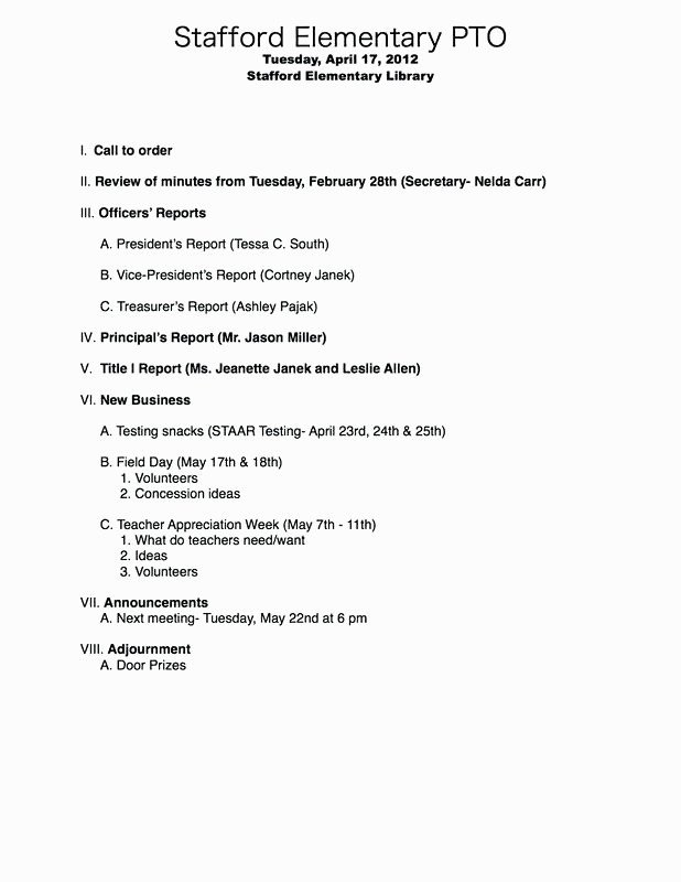 Pto Meeting Minutes Template 11 12 Agenda format for A Meeting