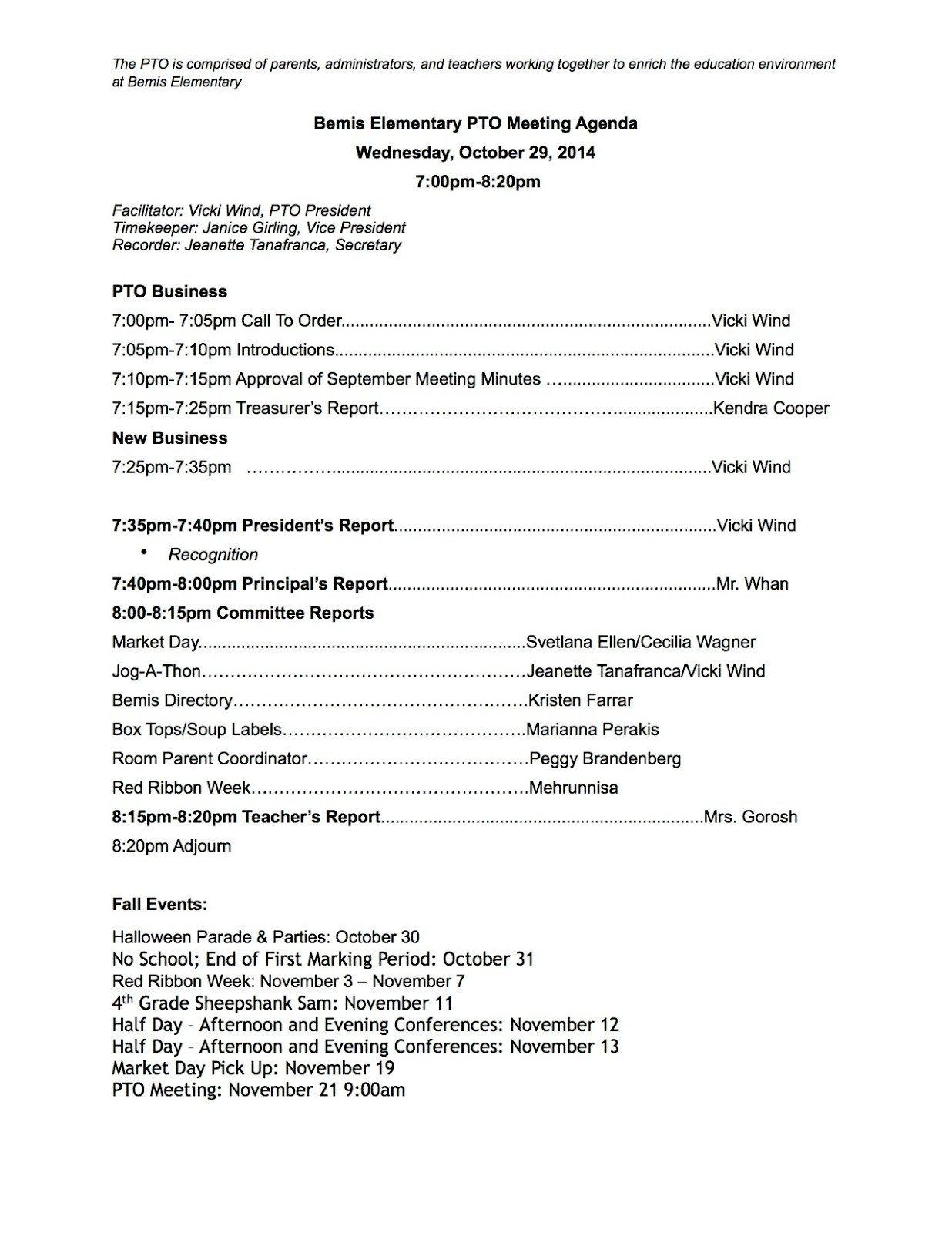 Pto Meeting Minutes Template Bemis Pto Parent Teacher organization October 2014