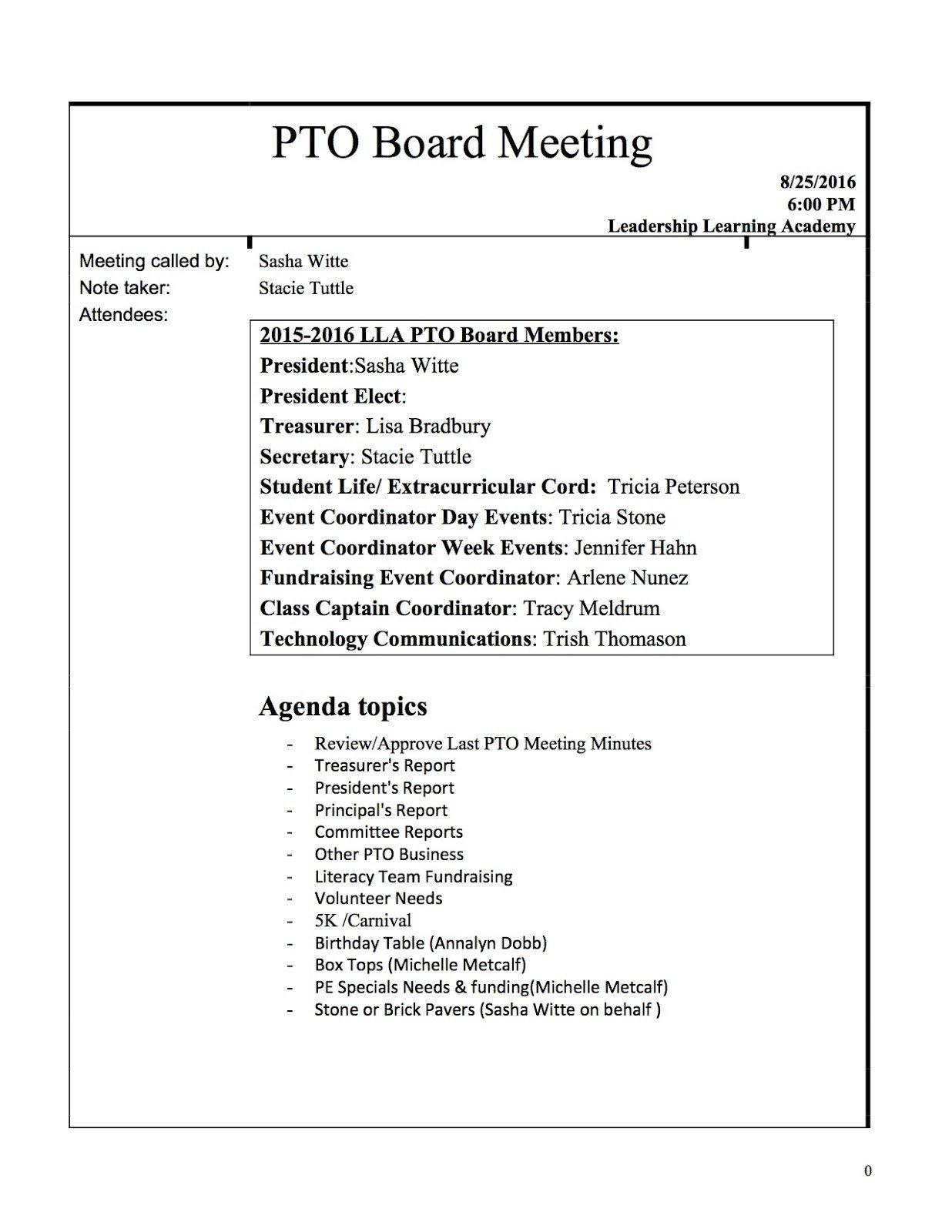 Pto Meeting Minutes Template Lla Charter Pto Mtg Min